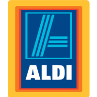 Aldi grocery store logo. Orang and blue block.