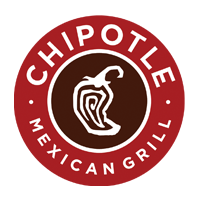 Chipotle Mexican Grill Logo. Circle logo with stylized chili pepper in middle. Brick red outer ring and dark burgundy center ring.