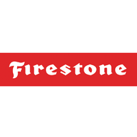 Firestone logo. White letters in red rectangle.