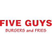 Five Guys Burgers and Fries Logo. Red Font on white.