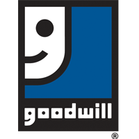 Goodwill Logo, Half smiley face on blue, goodwill in white text reversed out of black band.