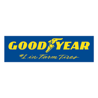 Good Year Logo. Blue rectangle yellow font and winged torch between the words good and Year.