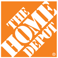 The Home Depot Logo. Words in white on orange block of color.