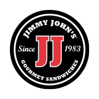 Jimmy John's logo. Large red JJ in black circle surrounded with additional copy, since 1983, gourmet sandwiches.