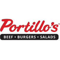 Potillo's logo, red script with beef, burgers and salads reversed out of black band.