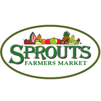 Sprouts logo, farmer market type and illustrations of fruit in oval shape