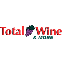 Total Wine & More Logo. Grapes in-between total and wine. Red font, & more in green font.