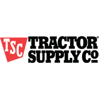 Tractor Supply Company Logo. Black Copy and TSC in red badge.