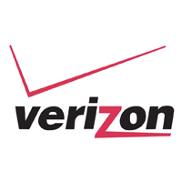 Verizon Logo. Black font with red Z and red check mark.