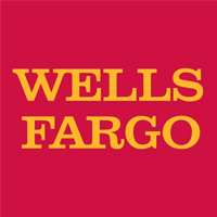 Wells Fargo Logo, yellow copy on pink red block